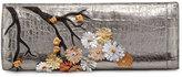 Nancy Gonzalez Cherry Blossom Crocodile Razor Clutch Bag, Anthracite