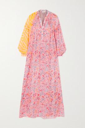 Eywasouls Malibu Belen Paneled Printed Voile Maxi Dress - Pastel pink