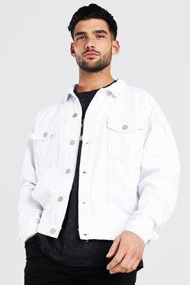 boohoo Mens White Oversized Denim Jacket With Abrasions, White