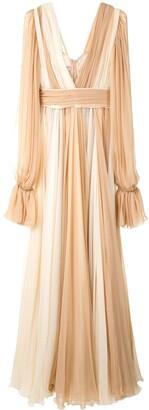 Dolce & Gabbana Panelled Poet-Sleeve Silk Gown