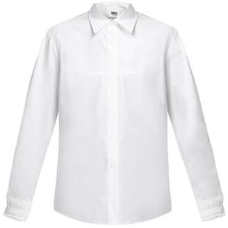 MM6 MAISON MARGIELA Lace-embellished Cuff Cotton-poplin Shirt - Womens - White