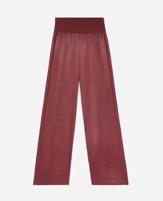 The Kooples Burgundy trousers in flowing fabric w/elastic