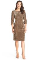 Eliza J Sequin Velvet Boatneck Sheath Dress