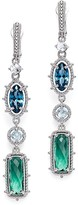 Judith Ripka Sterling Silver Harmony Drop Earrings with London Blue Spinel, Sky Blue Crystal and Green Quartz