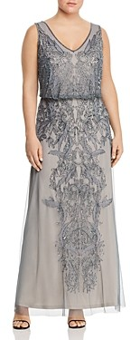 Adrianna Papell Plus Sleeveless Beaded Gown