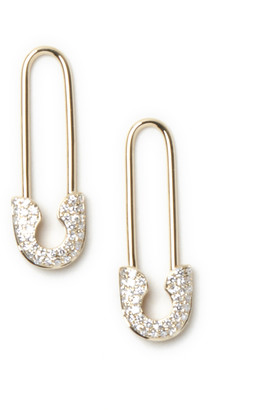 AUGUST & JUNE Diamond Safety Pin Earrings (14k Yellow Gold)