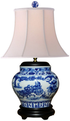 East Enterprises Inc Blue and White Canton Wine Jar Lamp