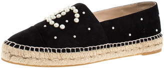 Chanel Black Suede Leather And Faux Pearl CC Espadrille Loafers Size 41