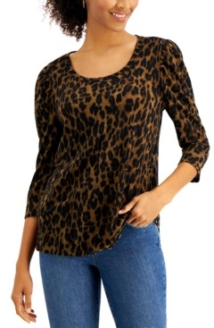 Style&Co. Style & Co Cotton Animal-Print Puff-Shoulder Top, Created for Macy's