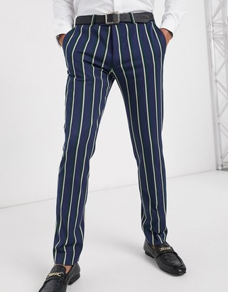 Lockstock Ascot stripe suit trouser in navy pinstripe