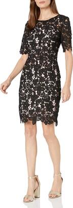 Chetta B Women's Short Sleeve Lace Dress Black/Blush 4