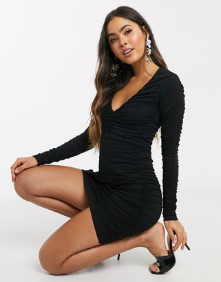 ASOS DESIGN plunge long sleeve ruched mini dress