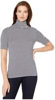 MICHAEL Michael Kors Stripe Short Sleeve Turtleneck Top (True Navy/Bone) Women's Clothing