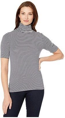 MICHAEL Michael Kors Stripe Short Sleeve Turtleneck Top
