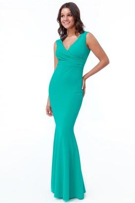 Goddiva Sea Green Pleated Wrap Hem Frill Maxi Dress