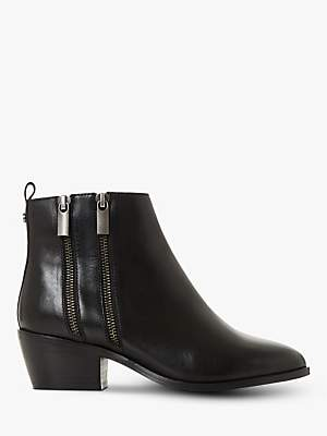 Dune Presleigh Leather Double Zip Ankle Boots