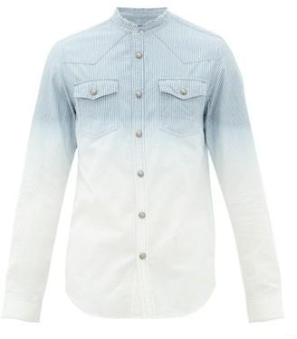 Balmain Logo-embroidered Striped-cotton Shirt - Blue White