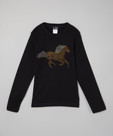 A Wish Black Galloping Horse Long-Sleeve Tee - Infant Toddler & Girls