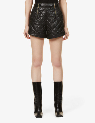 Self-Portrait Diamond-quilted high-rise faux leather shorts