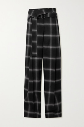 Stella McCartney Belted Checked Wool Wide-leg Pants - Black
