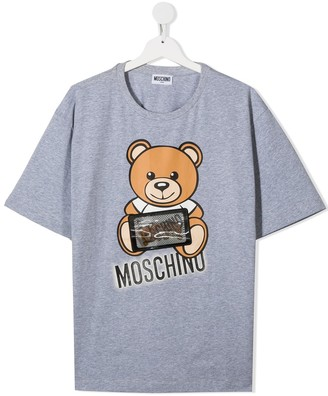 MOSCHINO BAMBINO TEEN teddybear logo print T-shirt