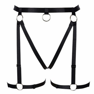 PETMHS Women's Punk Harness Garter Belts Strap Leg Stockings Body Cage Frame Lingerie Harajuku Gothic Halloween Dance Club Party Rave Wear (Black)