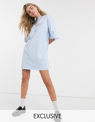Reclaimed Vintage inspired logo t-shirt dress in washed blue