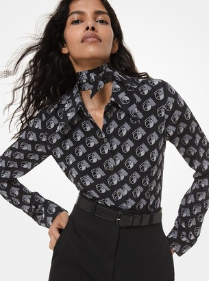 Michael Kors Collection Studio 54 Print Crushed Silk Crepe De Chine Blouse