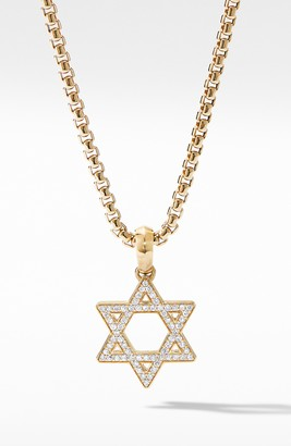 David Yurman Modern Renaissance Star of David Pendant in 18K Yellow Gold with Diamonds