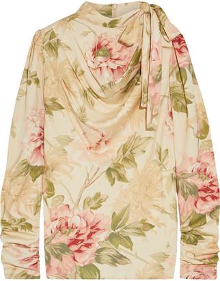 Zimmermann Espionage Tie-neck Draped Floral-print Stretch-silk Twill Top