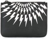 Neil Barrett 'Thunder' zip coin pouch - men - Calf Leather - One Size