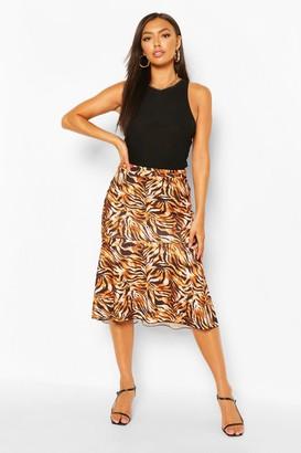 boohoo Tiger Print Midi Peplum Skirt