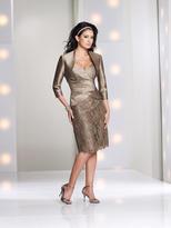 Mon Cheri - 113843 Two-Piece Silk Bolero Sheath Dress in Taupe