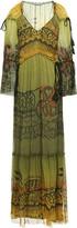 Alberta Ferretti Gathered Tassel-trimmed Printed Silk-georgette Maxi Dress