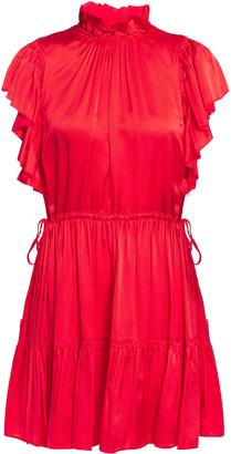 Kate Spade Gathered Ruffle-trimmed Hammered Silk-blend Satin Mini Dress