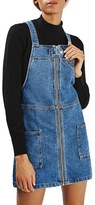 Topshop Women's Denim Utility Pinafore Dress