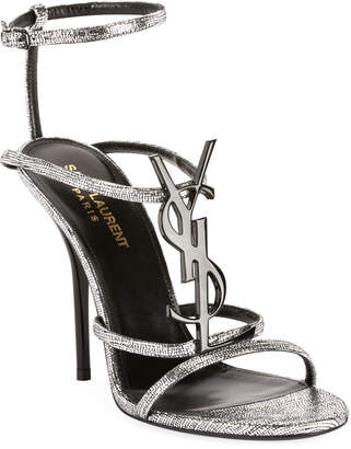 Saint Laurent Cassandre Metallic Sandals