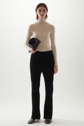 Cos Organic Cotton Chenille Flared Ribbed Trousers