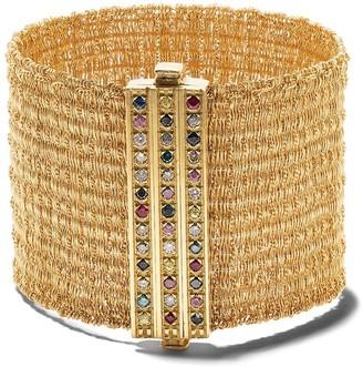 Carolina Bucci 18kt Yellow Gold Rigid Woven Rainbow Clasp Bracelet