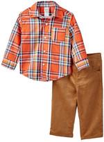 Little Me Orange Plaid Woven Pant Set (Baby Boys)