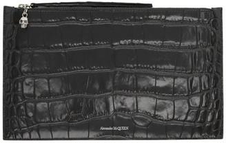 Alexander McQueen Grey Croc Zip Pouch