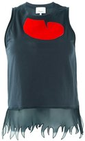 3.1 Phillip Lim sheer trim tank top - women - Silk/Cotton/Polyester - XS