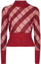 Miu Miu Checked Mohair-blend Sweater - Red