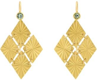 Cathy Waterman Green Sapphire Cuatro Estrellas Yellow Gold Earrings