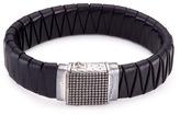 John Hardy Rhodium silver dotted charm braided leather jawan bracelet
