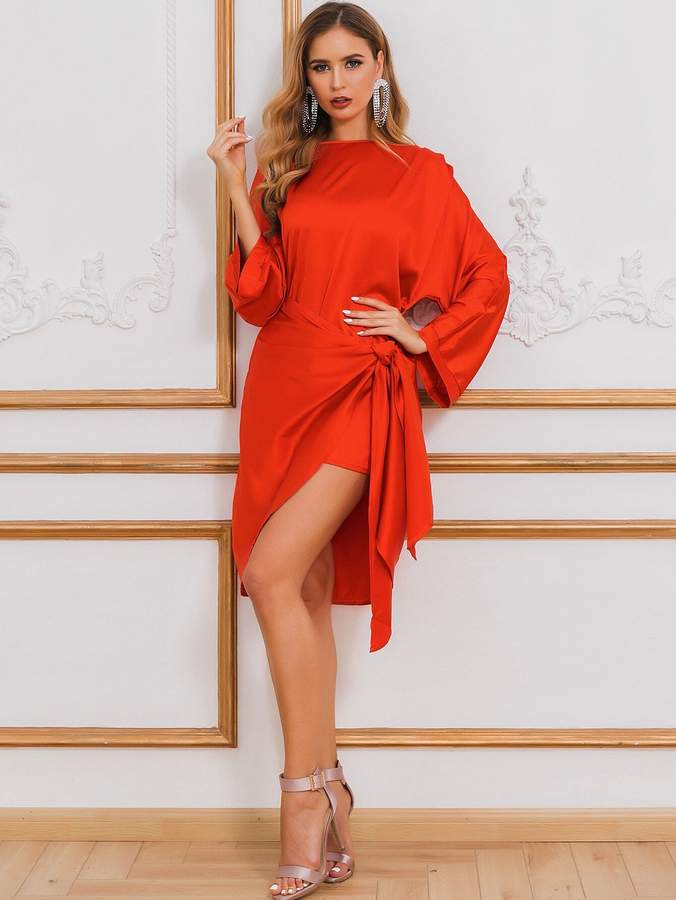 Shein Glamaker Neon Orange Batwing Sleeve Knotted Satin Dress