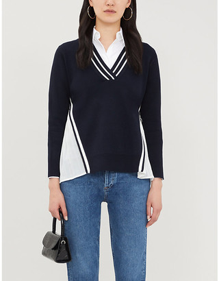 Claudie Pierlot V-neck stripe-trimmed stretch-knit jumper