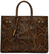 Saint Laurent Brown Python Small Sac de Jour Tote