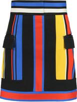 Balmain Color-block stretch-cotton twill mini skirt