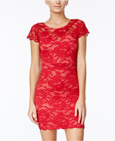 Crystal Doll Juniors' Scalloped Lace Bodycon Dress
